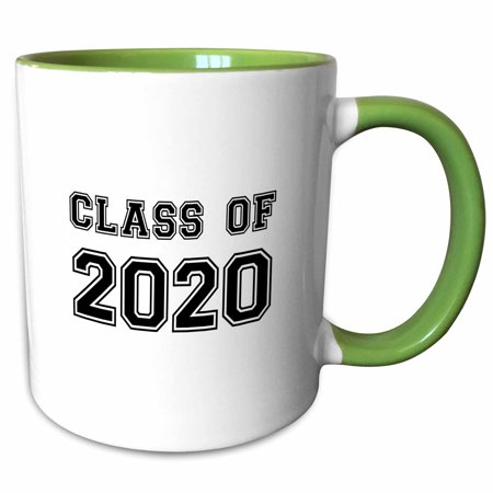 3dRose Class of 2020 - Graduation gift - graduate graduating high school university or college grad black - Two Tone Green Mug, 11-ounce - High School Grad Gifts