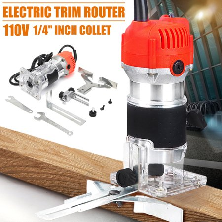 110V 350W Electric Hand Trim Router Edge Wood Clean Cuts Woodworking Tool
