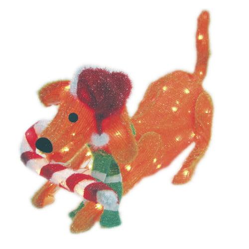 Brite Star 105 Light 3D Snowy Soft Puppy Dog Sculpture with Candy Cane