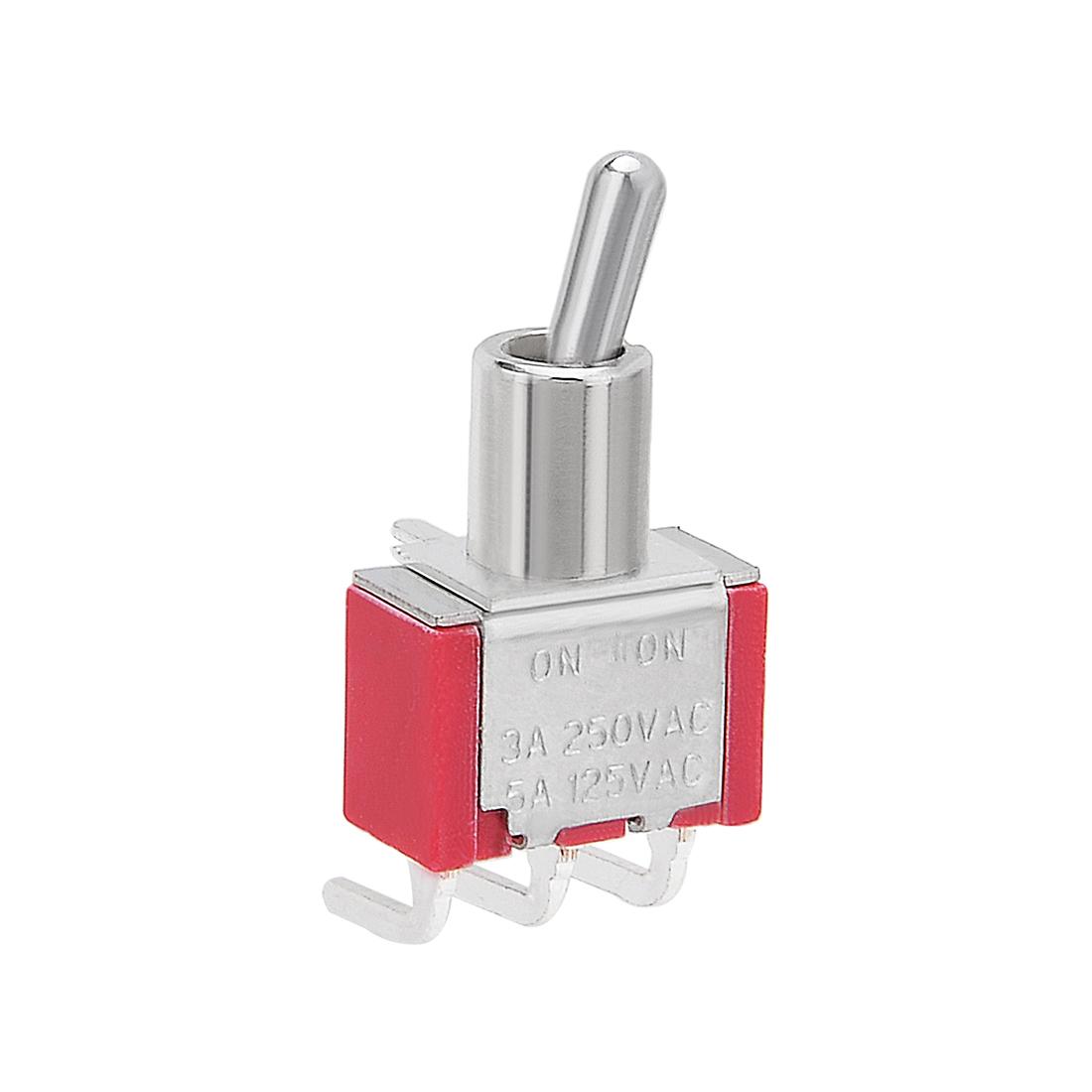AC 250V/3A 125V/5A ON/ON SPDT interrupteur à bascule ton argent bornes angle droit - image 4 de 4