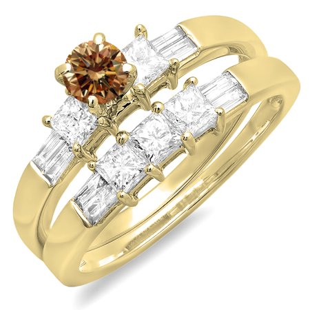 1.00 Carat (ctw) 10K Yellow Gold Round Princess & Baguette Cut Champagne & White Diamond Ladies Bridal Engagement Ring S