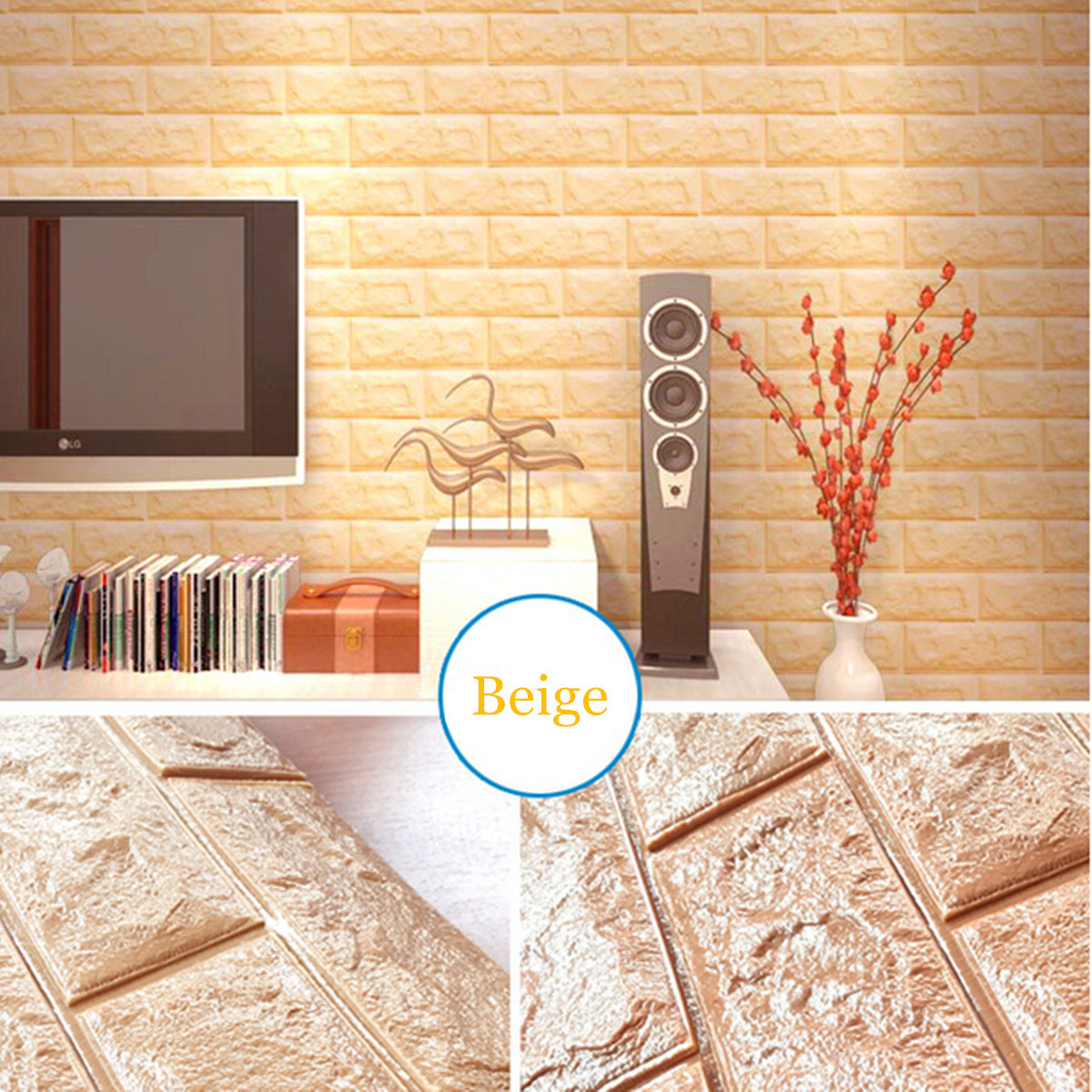 4 Sq.Ft Peal and Stick 3D Self-Adhesive Wall Panels Faux Foam Bricks Wallpaper for Tv Walls/Sofa Background Wall Decor / Wall Decal / Wall Accent / TV Walls