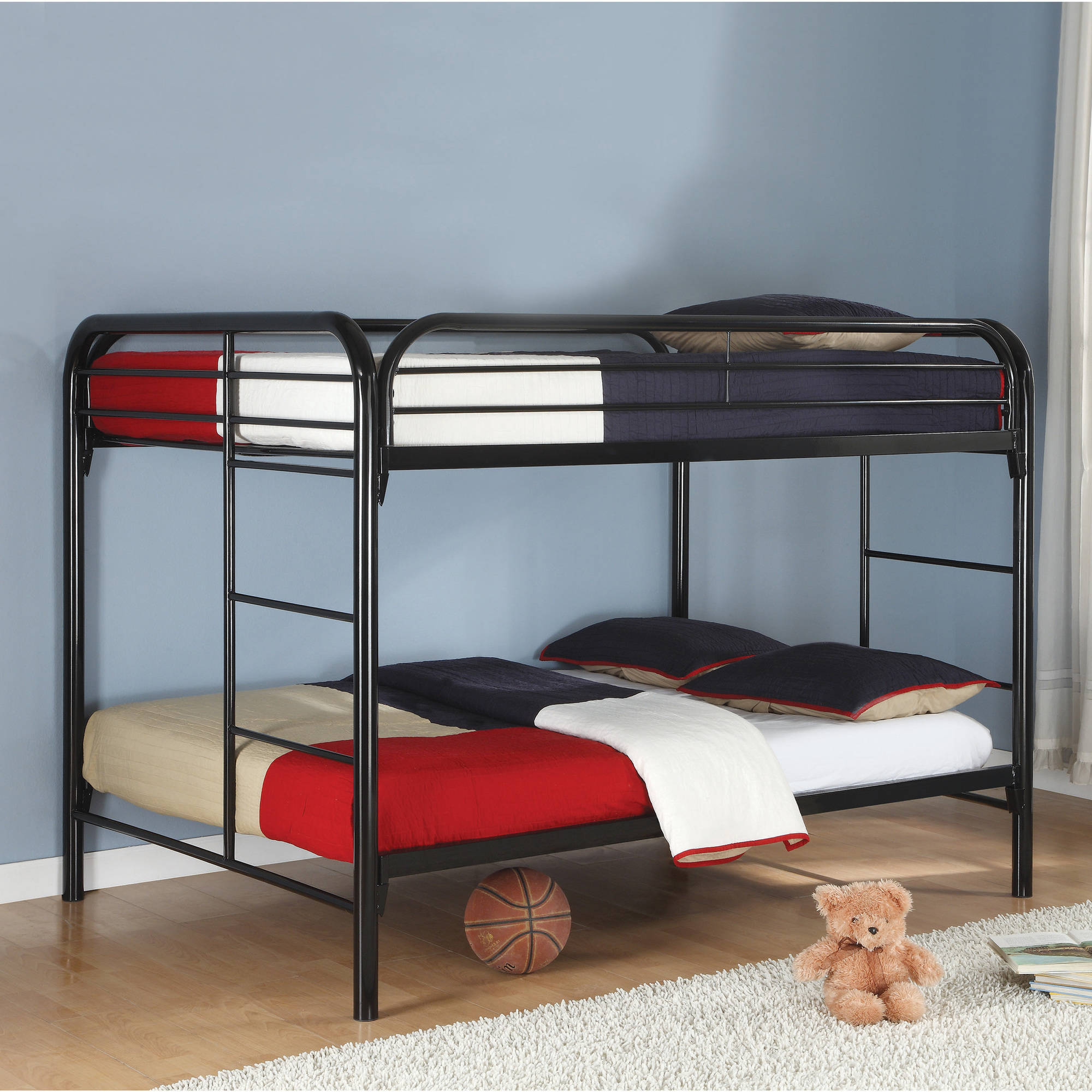Coaster Full/Full Bunk Bed in Black Finish with Built in Side Ladder