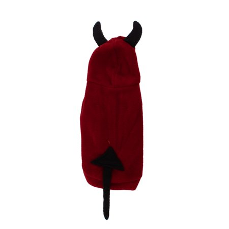Unique Bargains Press Stud Button Devil Design Pet Dog Yorkie Hoodie Costume Coat Black Red XS - Unique Dog Costumes