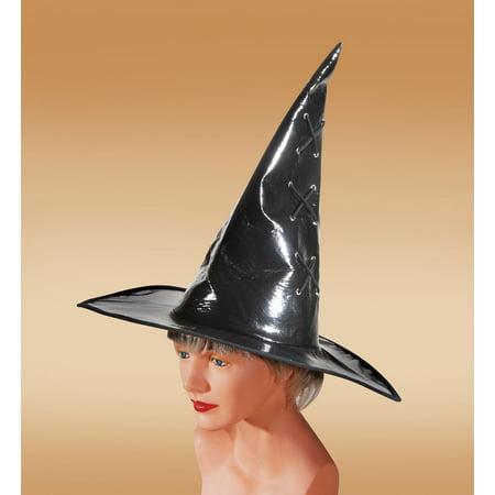 Loftus Halloween Witch Vinyl Wide Brim Pointy Costume Hat, Black, One - Halloween Costume Witch Hat