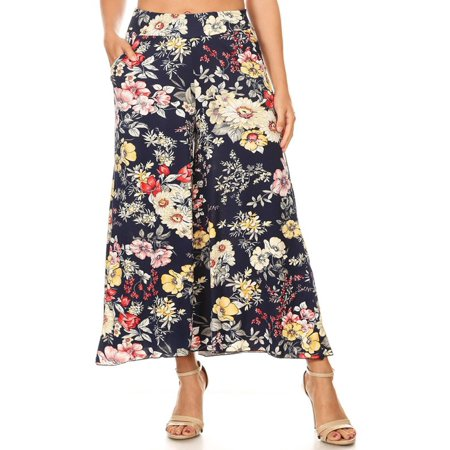 Women's Casual Floral Pattern Wide Leg Cropped High Waist Capri Pants