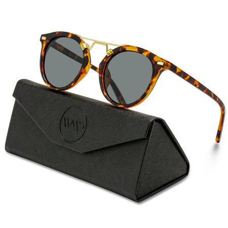 Metal Polarized Mirror (WearMe Pro - Polarized Round Mirrored Fashion Metal Bridge Unisex Sunglasses - Tortoise Frame )