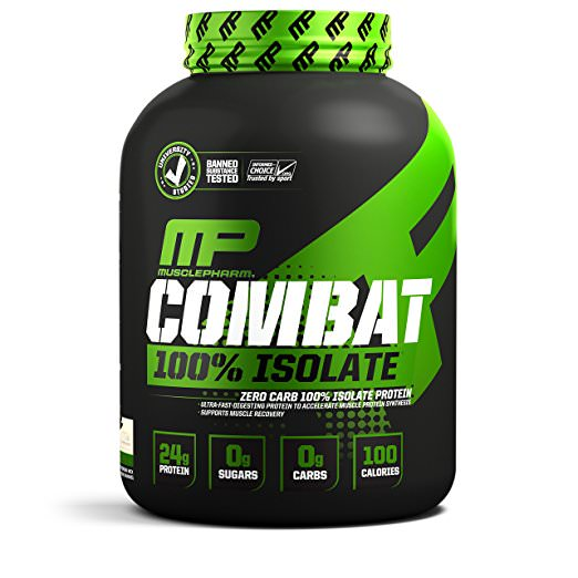 MusclePharm Combat 100% Isolate Protein Powder, Vanilla, 24g Protein, 5 Lb