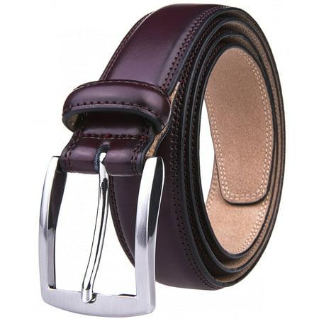 Dress Belt Men, 1.25-inch Wide Real Leather Casual Belts For Men - Wine