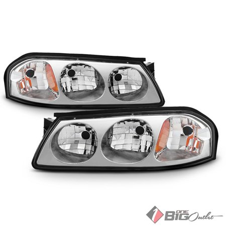2000-2005 Impala Chrome Headlights Front Lamps Replacement Left+Right Pair L+R 2001 2002 2003 2004