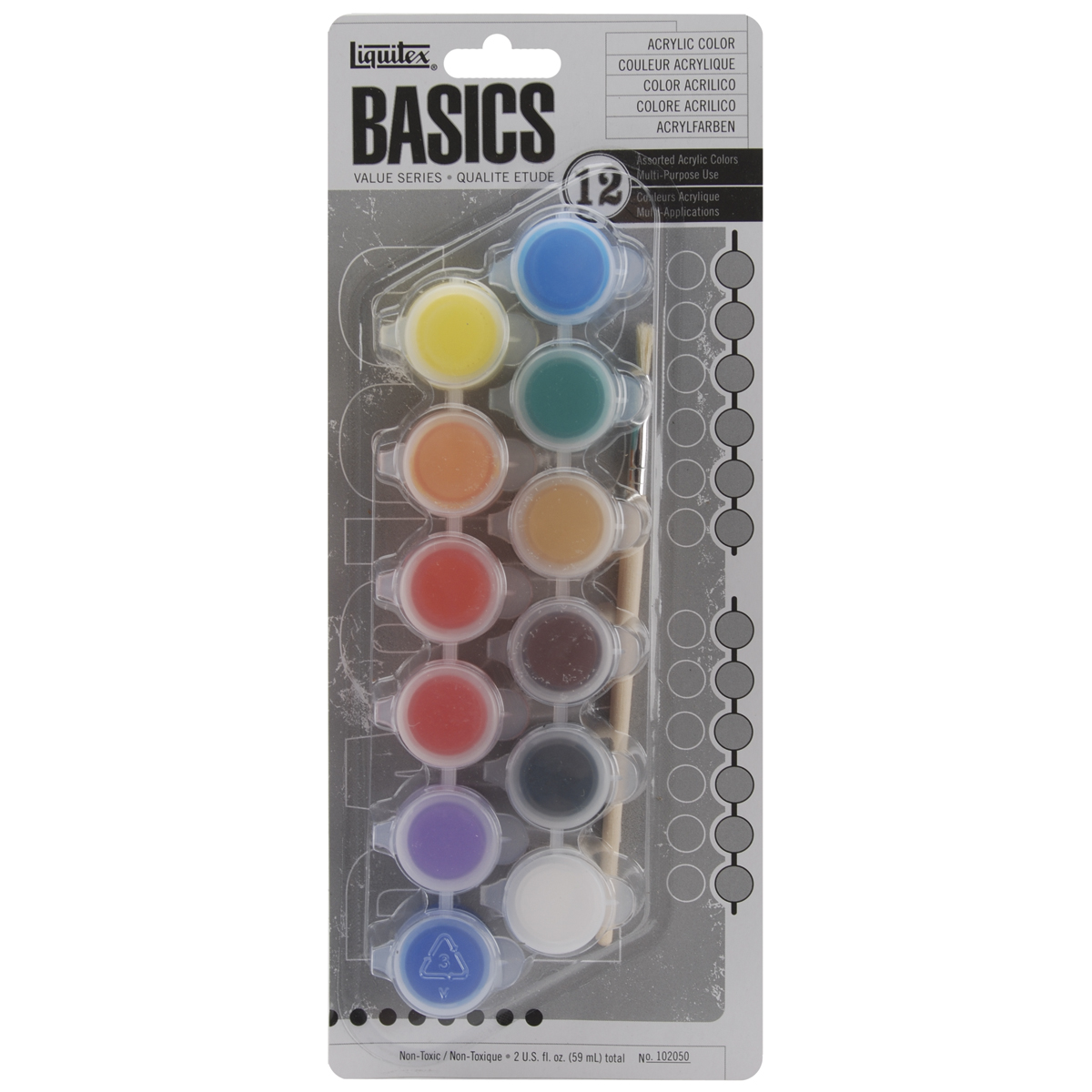 Liquitex BASICS Acrylic Paint Pots 5ml 12/Pkg-Assorted Colors