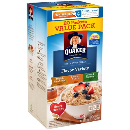 (6 Pack) Quaker Instant Oatmeal, Flavor Variety Value Pack, 20 Packets