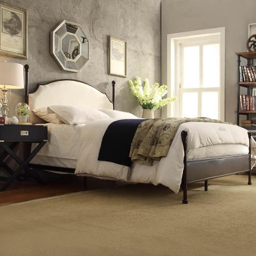 INSPIRE Q Andover Cream Curved Top Cherry Brown Metal Poster Bed Andover TWIN Bed