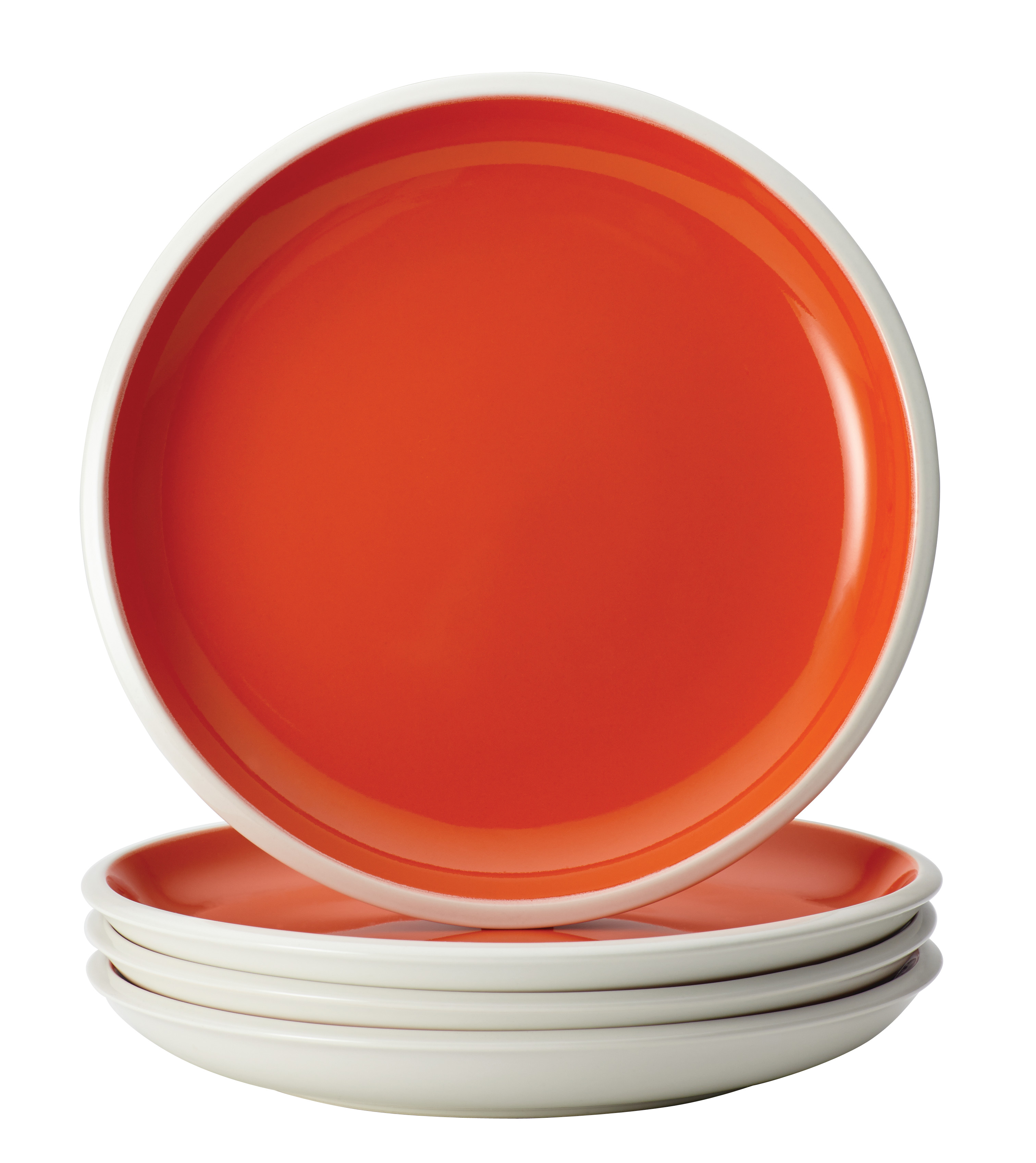Rachael Ray Dinnerware Rise 4-Piece Stoneware Salad Plate Set, Orange
