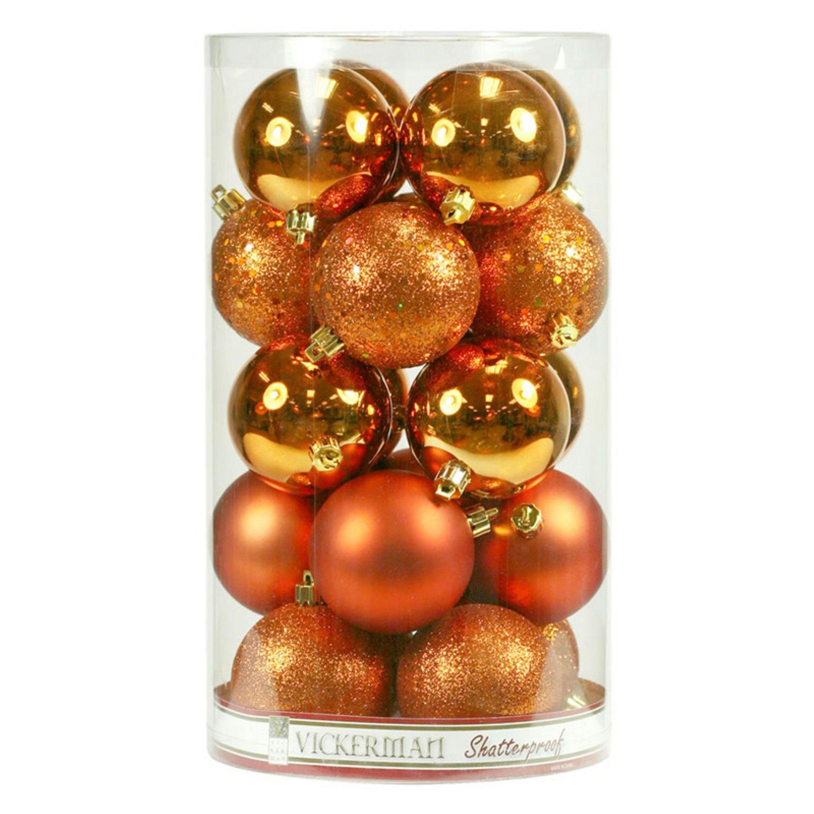 Vickerman 2.4 in. Burnish Orange 4 Finish Ornament Assorted - Set of 24