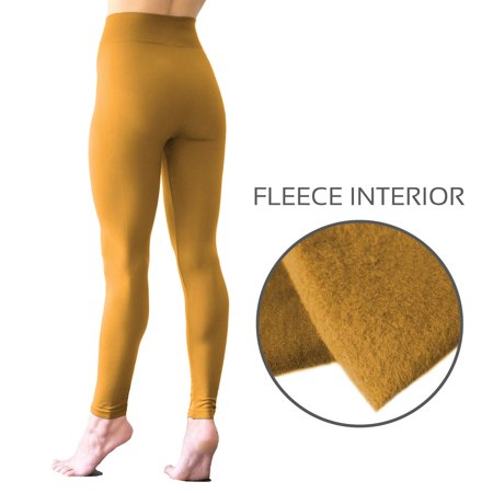 BELIZA Spicy Mustard 3 Inch High Waist Band Seamless Fleece Leggings, Lightweight & Soft