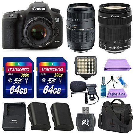 Canon EOS 7D Mark II Digital SLR Camera + Canon EF-S 18-135mm f/3.5-5.6 IS STM Lens + Tamron 70-300mm Lens + Extra Battery + 2pc 64GB Memory Cards + Deluxe Case + LED Light + Paging Zone Cleaning