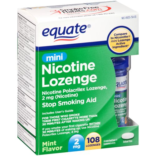 Equate Mini Nicotine Lozenge Stop Smoking Aid, 2mg, 108 count