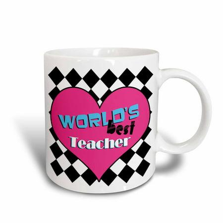 3dRose Worlds Best Teacher Pink, Ceramic Mug,