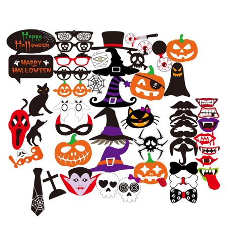 52 Pack Halloween Mask, Coxeer DIY Photo Booth Props Kit with Stick Party Favors Supplies for Christmas Mardi Gras Accessories Decorations - Jonathan Ross Halloween Party Photos