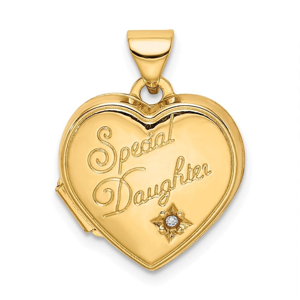 14k Yellow Gold 15mm Heart Diamond Special Daughter Locket