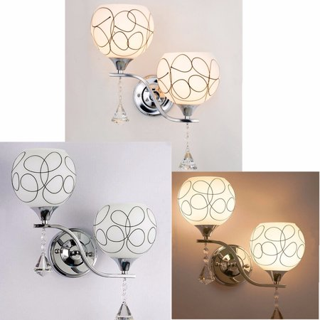 (Modern LED Crystal Wall Sconce Light Bulb Bedroom Bedside Hallway Lighting)