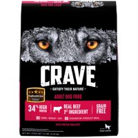 CRAVE Grain Free Adult Dry Dog Food with Protein from Beef, 12 lb. Bag