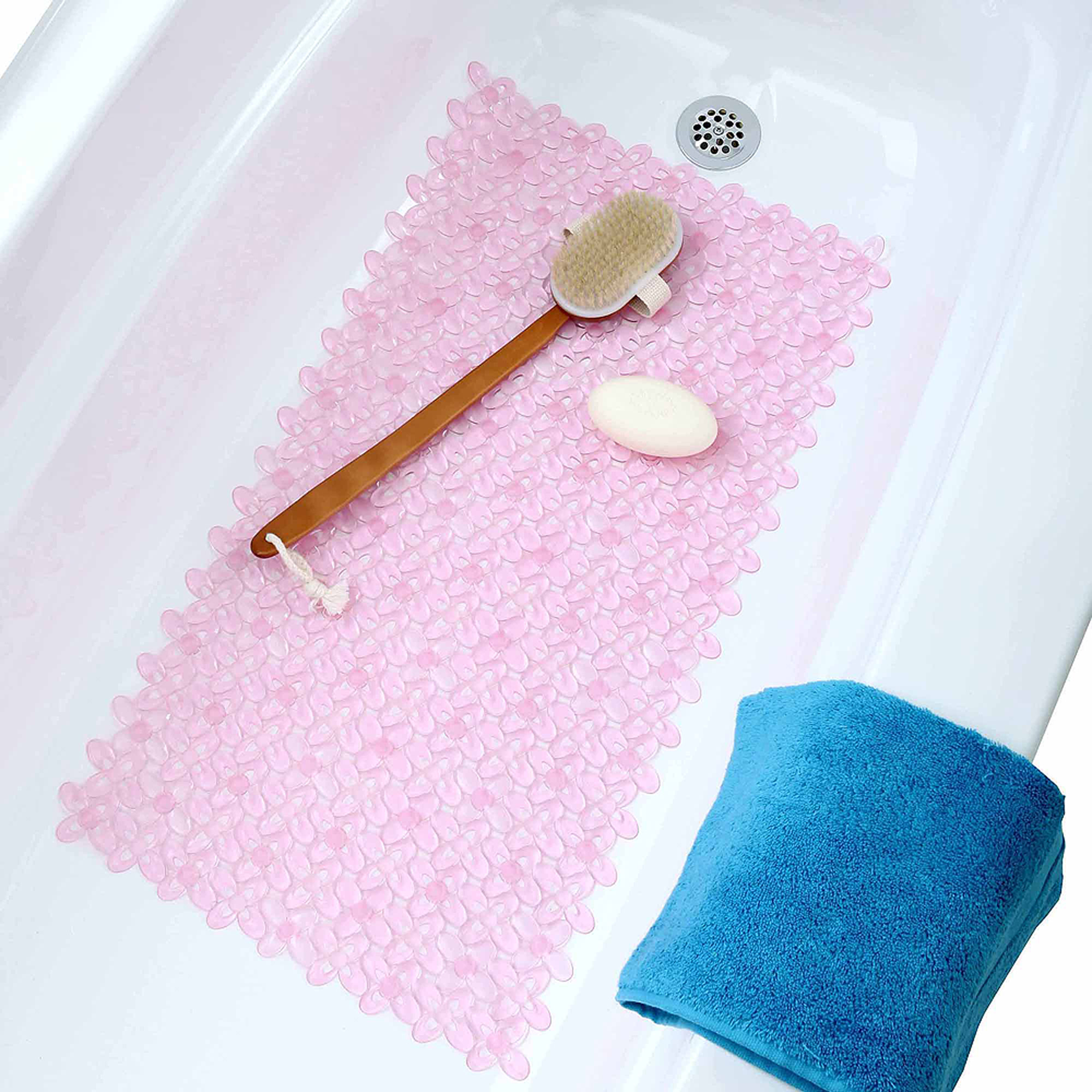 Bed of Blossoms Bath Mat, Light Rose