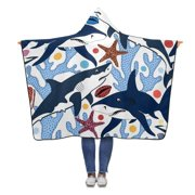ASHLEIGH Sharks Shells Starfishes Corals Hooded Blanket 56x80 inches Adults Girls Boys Throw Polar Fleece Blankets Wrap