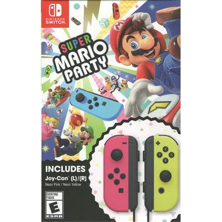 Super Mario Party + Neon Pink/ Neon Yellow Joy-Con (Nintendo Switch) (Mario Punch Light)