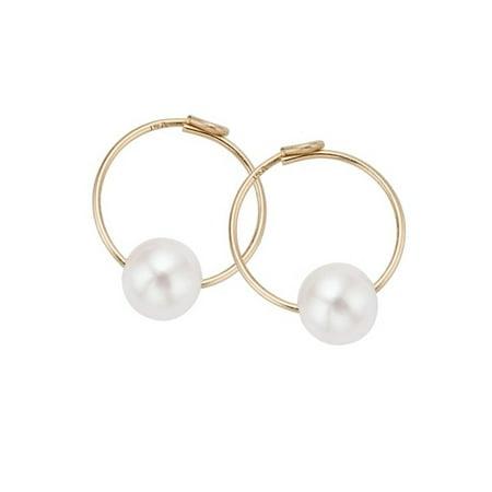 14k Gold Kids Freshwater Pearl Endless Hoop Earrings (4 mm) - Fine Jewelry Gift for Baby/Kids/Children/Baby (Freshwater Pearl Hook Earrings)