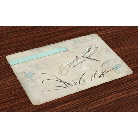 Dragonfly Placemats Set of 4 Romantic Vintage Sketch in Pastel Grass Birthday Grunge Grass Botany Artwork, Washable Fabric Place Mats for Dining Room Kitchen Table Decor,Seafoam Tan, by Ambesonne ()