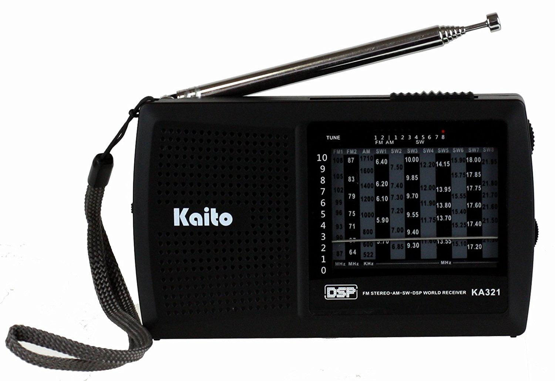 Black Digital Signal Processing Kaito KA321 Pocket-size 10-Band AM//FM Shortwave Radio with DSP