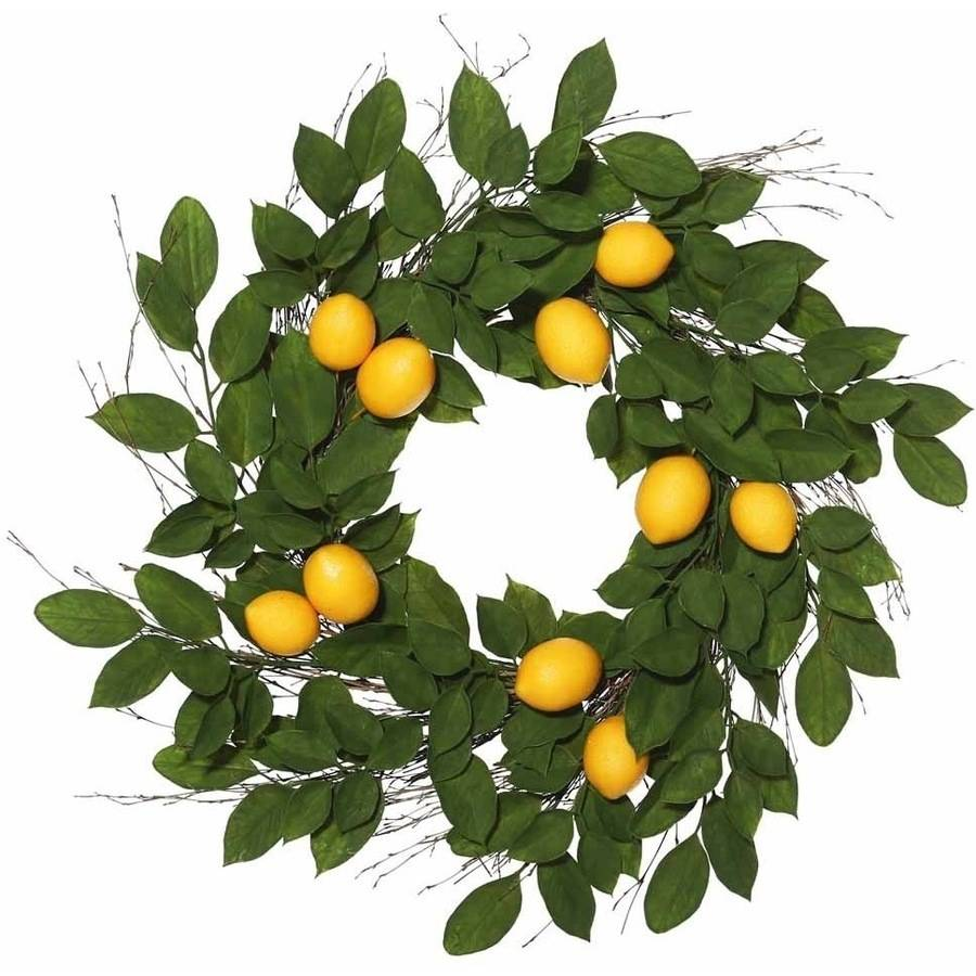 "Vickerman 24"" Artificial Green and Yellow Salal Leaf Lemon Wreath Featuring 35 Branches with 10 Lemons"