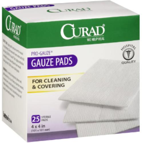 "Curad Sterile Pro-Gauze Pads 4"" x 4"" 25 ea (Pack of 4)"