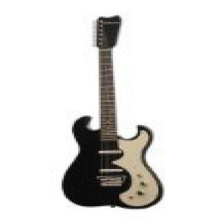 Silvertone Classic 1449-BSF Solid-Body Electric Guitar, Black/Silver