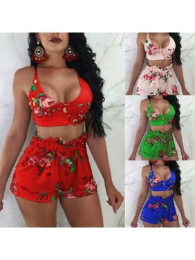 Sexy Women Floral 2 Piece Bodycon Crop Top Pants Set Clubwear Jumpsuit Romper