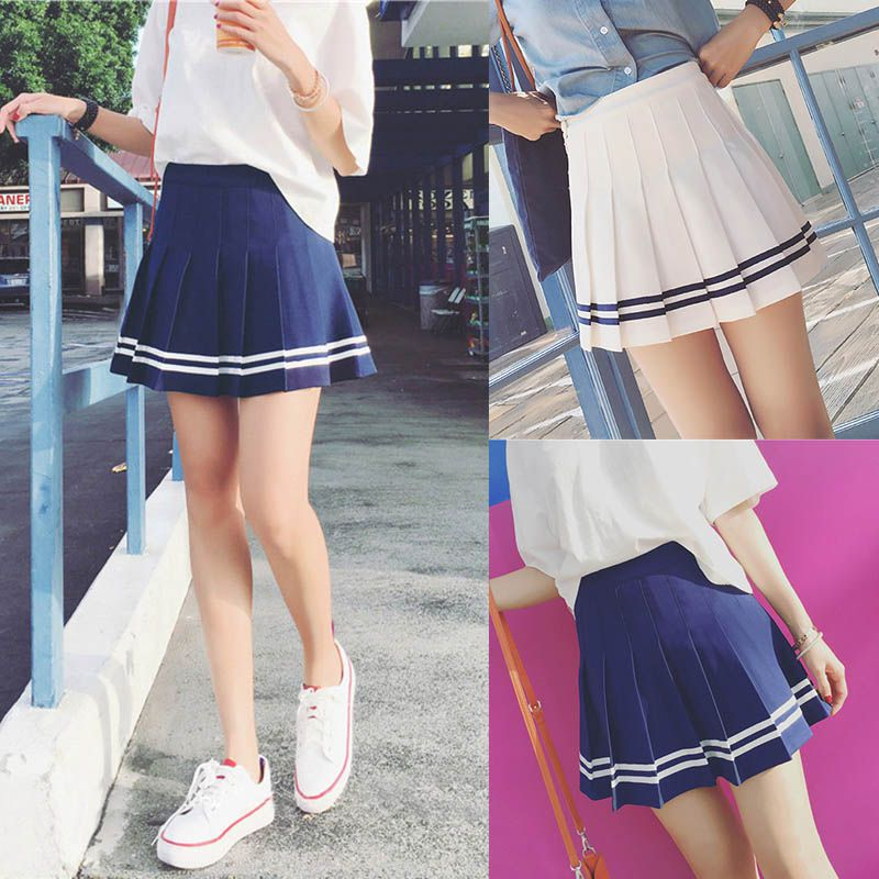 Women Tennis High Waist Plain Skater Flared Pleated Short Mini Skirt Shorts
