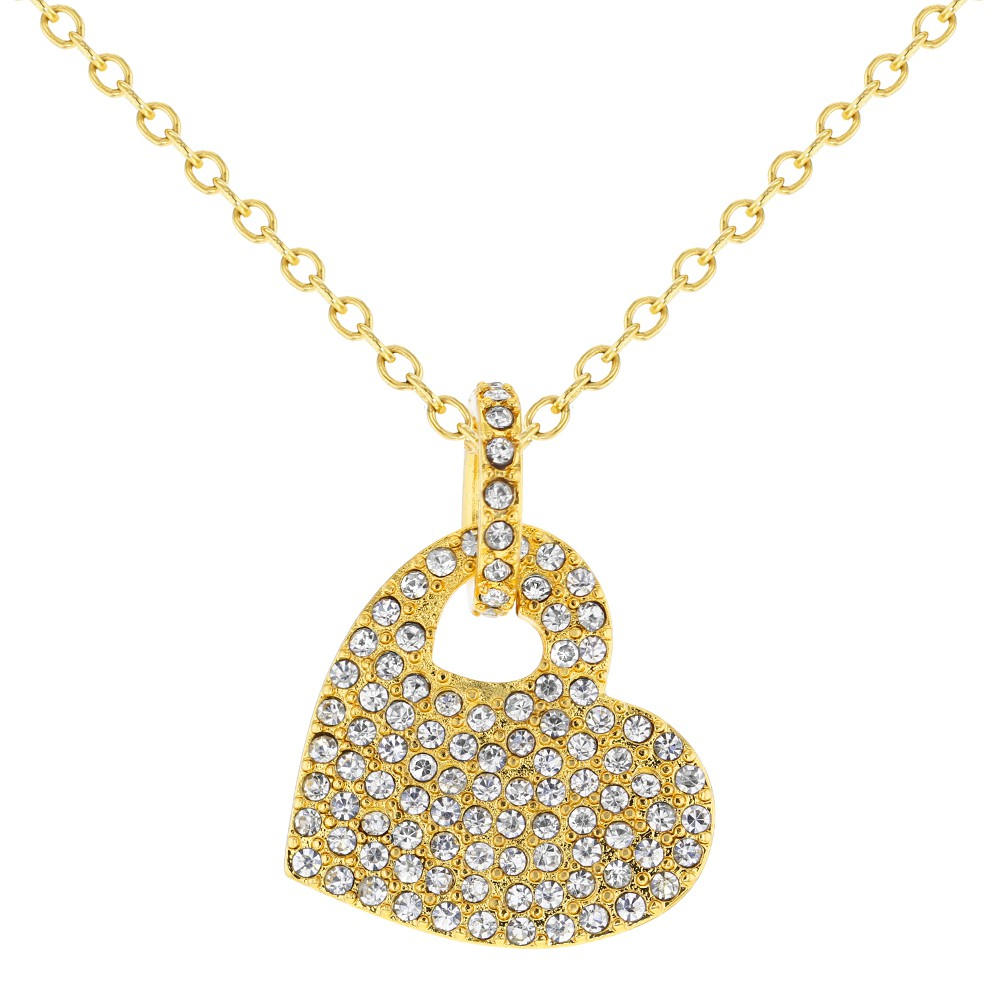Gold Tone Micro Pave Clear Crystal Heart Womens Pendant Necklace ... cafc63fcd0