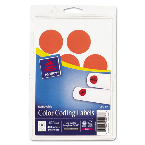 Print Or Write Removable Color-Coding Labels, 1-1/4In Dia, Neon Red, 4