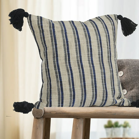 LR Home Double Striped Blue / Gray 18 inch Tassels Cotton Decorative Throw Pillow