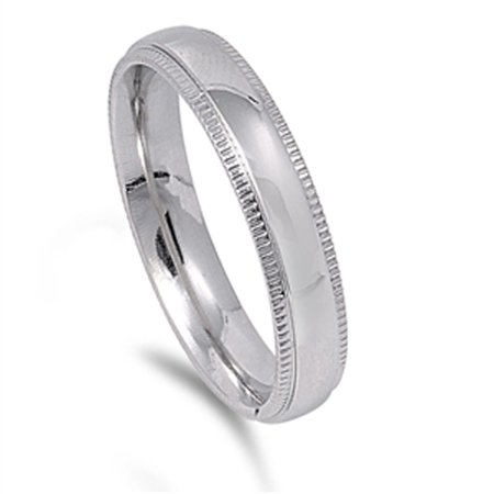 Milgrain Men's Wedding Band Wholesale Ring 316L Stainless Steel 4mm Size 14 (Wholesale Stainless Steel Rings)
