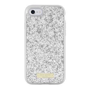 Kate Spade New York Exposed Glitter Case with Metallic Bumper for iPhone 7 - Silver|Exposed glitter silver