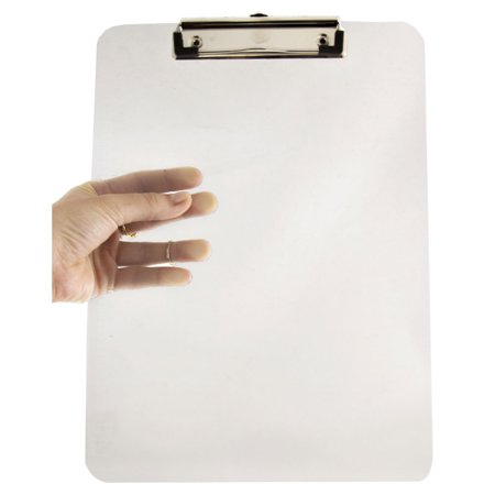 JAM Paper Plastic Clipboards, 9 x 13 in, Clear Clipboards, Pack of 12