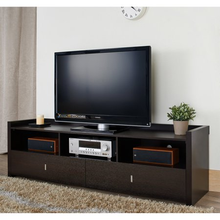 Furniture of America Henters 72 in. Red Cocoa Entertainment TV Console
