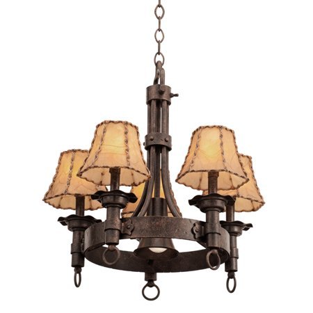 Chandeliers 5 Light With Pearl Silver Finish Hand Forged Wrought Iron E12 71 inch 200 Watts 1/2' Hand Forged Wrought Iron