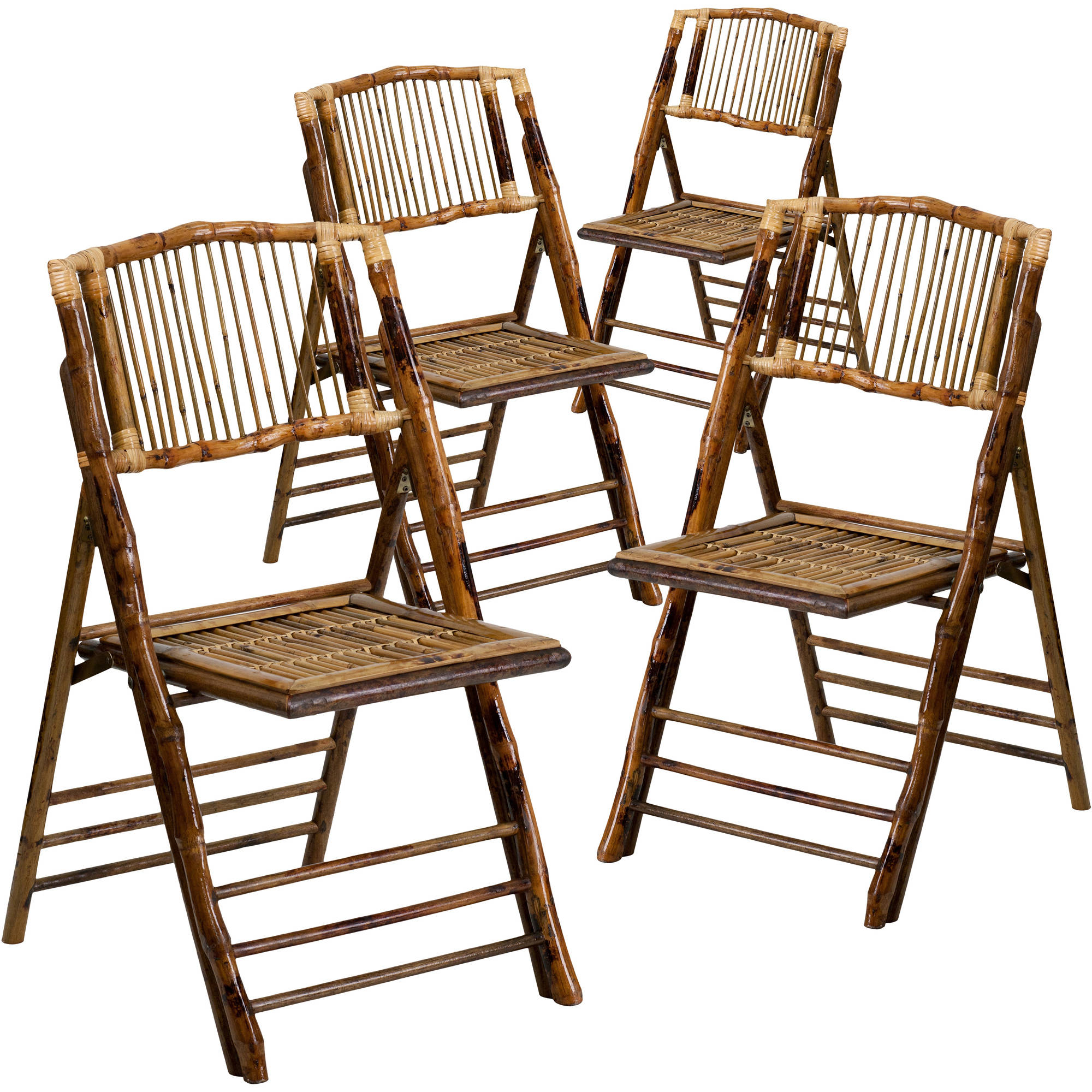 Flash Furniture 4pk American Champion Bamboo Folding Chair by