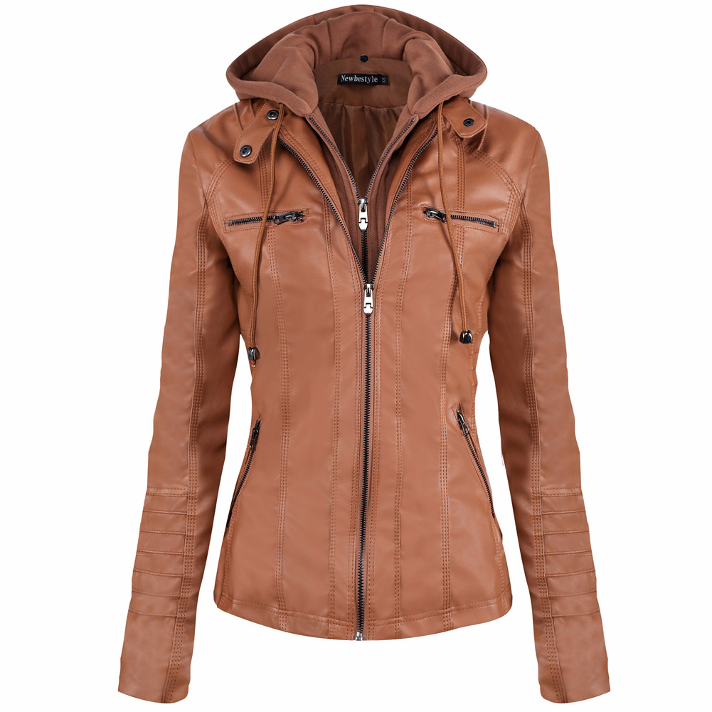 Newbestyle Women Spring and Autumn Hooded Faux Leather Jacket Hat ...