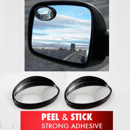 Car Side Mirror - 2 Universal Wide Angle Oval Rear Side View Blind Spot Mirror SUV Car Peel Stick