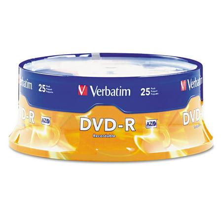 Verbatim (95058) DVD-R Discs, 4.7GB, 16x, Spindle, Matte Silver, 25/Pack